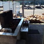 The wood fired BBQ pit.
