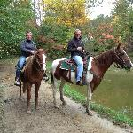 At the end of our trail ride, Gill offered to take a pretty pic of us by the pond.