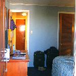 view of passage from bedroom to livingroom through bathroom