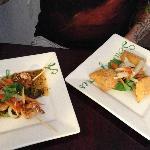 skewered shrimp and patties