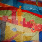Close-up of the colorful bedspread