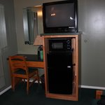 TV, microwave and refrigerator