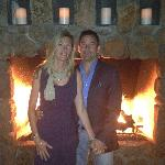 By the lobby fireplace