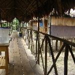 walkway connecting rooms to main lodge
