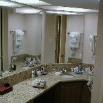 My huge bathroom, granite counter, etc., etc.