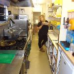 the lovely owner Frankie ion her spotless Kitchen