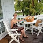 Mary enjoying breakfast at cottage on Sunset Key