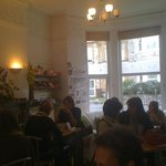 Cafe at lunch time.