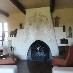 historic fireplace in library