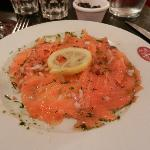 Salmon appetizer - they wrap a fresh salmon in salt and herbs, then wrap tightly for a day or lo
