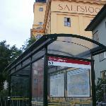 Bus stop at the back of the hotel