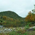 View of the River and Hills from West Cornwall Covered Bridge