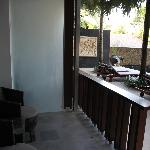 Ground floor 'balcony' just 10 steps from Hotel pool.