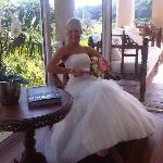 Maresa getting ready for wedding at the guest house
