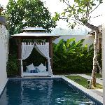 Lovely Bali hut with mattress to read by the pool.