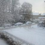 The snow on road outside