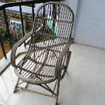 Broken chair in another balcony that my friend occupied