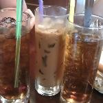 Drinks provided during breakfast...Lipton Iced Teas and Cold Coffee with Milk (middle glass)