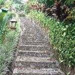 Steps down to our villa