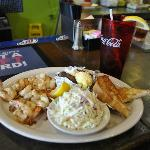 Shrimp, Baked Potato and Cole Slaw