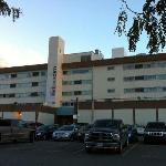 Front of hotel showing large carpark