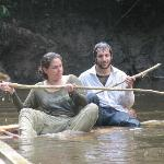 Doing rafting in the Amazon river
