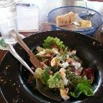 delicious salad with smoked chicken, egg, etc