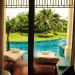 View from room, immediate and private access to pool