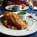 Lunch, deep fried Haddock and French fries.