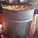 A huge bucket of peanuts-these are on every table