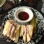Monte Cristo with raspberry dipping sauce