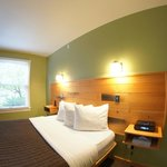 Guest rooms are modern, eco-friendly, and renovated.