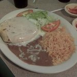 Shrimp Chimichanga with sides of rice and beans
