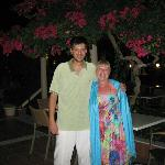 Hotel Manager Yiannis and I in the gardens