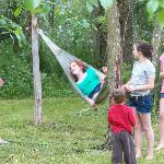 Kids hanging on the tree hammock