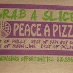 Peace A Pizza--the pizza box.