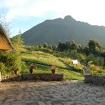 Looking from Main lodge at Sabyinyo volcano & the pathways that elad to various guest suite chal