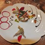 Homard en salade, vinaigrette à l'huile d'olive et basilic