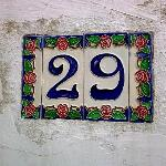 Typical house number on footpath to hotel