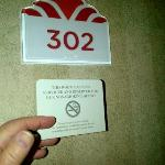 "My room number, with the ""nonsmoking"" placard found inside the room"