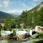 The outdoor spa area is extensive, with beautiful views in all directions