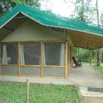 huge guest tented suites, example of the large bug-screened windows & verandah overhang