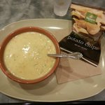 Cream of Broccoli Soup W/ Chips, or Bread, or Fruit