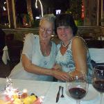 Ann and Ann enjoying their last night in Kusadasi at Mezgit