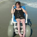 beach wheelchair, it's hard to turn but easy to push or pull.