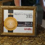 The Best Bed and Breakfast Award for 2012 Roni received in August.