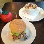 """The gigantic """"small burger"""" with side of 'home slaw'"""