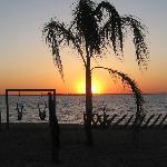 Sunset on the beach by the Tiki Bar