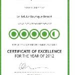 The Certificate of Excellence for the year of 2012