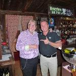 WITH THE GREAT OWNER, MR URS BENZ, AT THE BAR OF HOTEL HELVETIA INTERGOLF, CRANS-MONTANA.